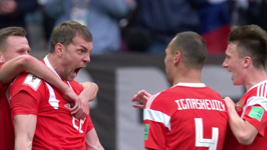 Artem Dzyuba hace de cabeza el tercer gol para la selección rusa  Rusia - Arabia Saudí (3-0)