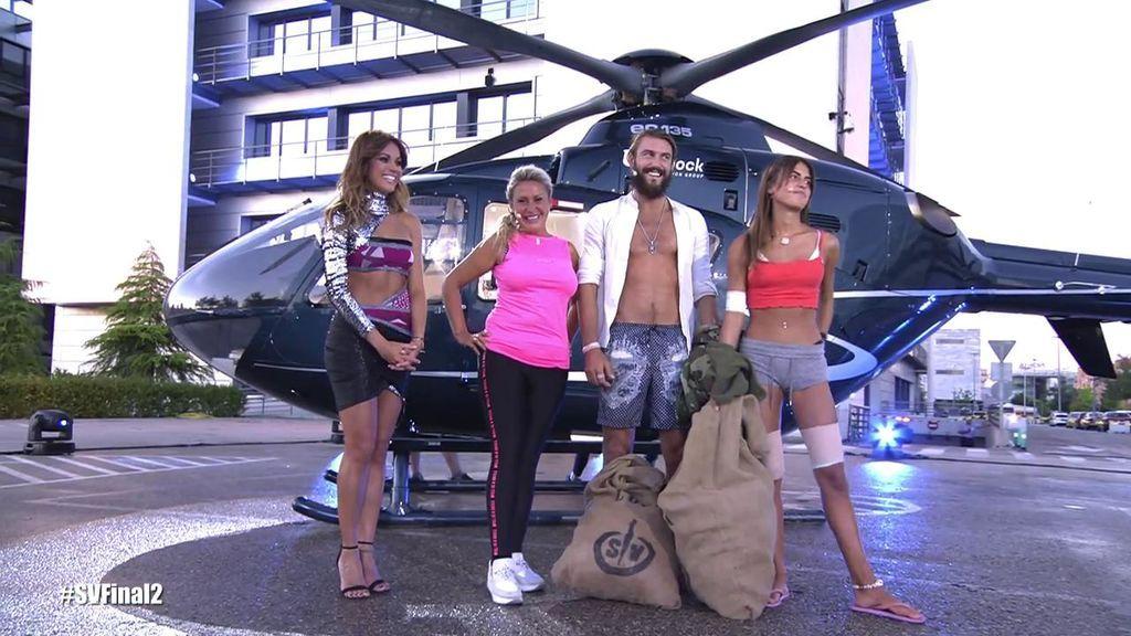 ¡Espectacular! Sofía, Logan y Raquel, los tres finalistas de 'SV' llegan en el helicóptero a Mediaset España