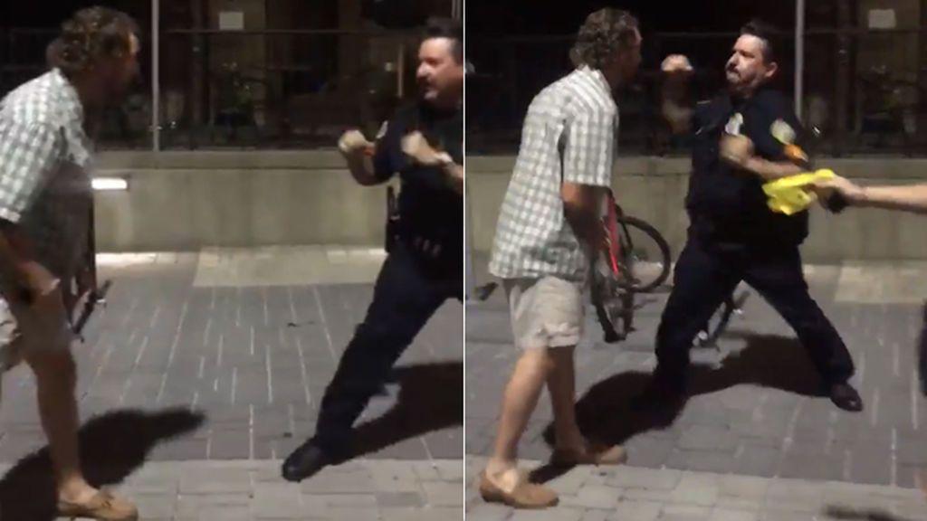 Como en un ring de boxeo: Un civil y un policía, a puñetazo limpio a la salida de un pub