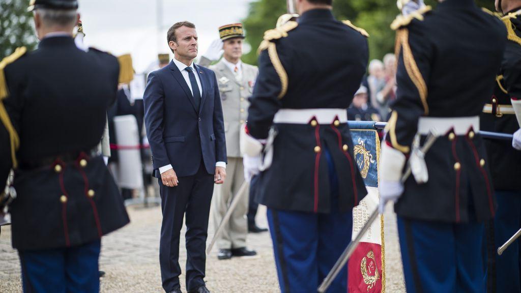 Emmanuel Macron en un acto conmemorativo a De Gaulle