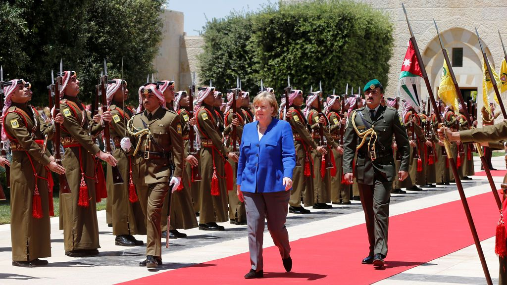 Angela Merkel durante su visita oficial  a Jordania