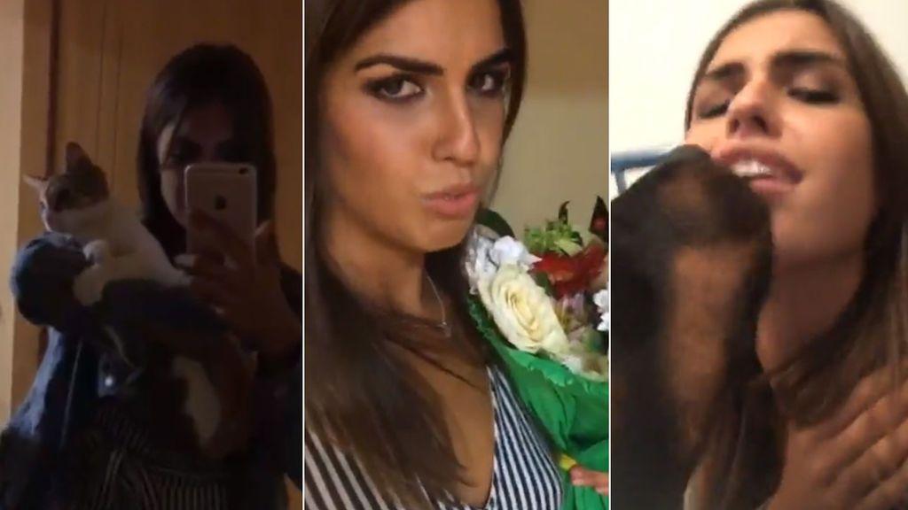 Amor perruno, leche con galletas y flores de sus fans: Sofía Suescun llega a su casa en Pamplona