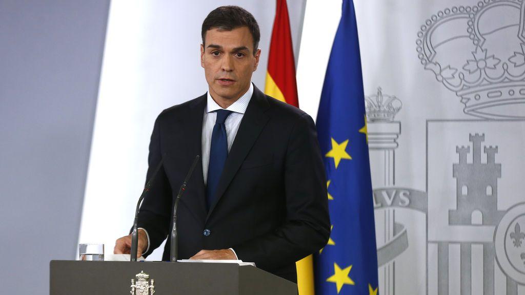 El presidente del Gobierno, Pedro Sánchez, durante su comparecencia en La Moncloa el 6 de junio de 2018.