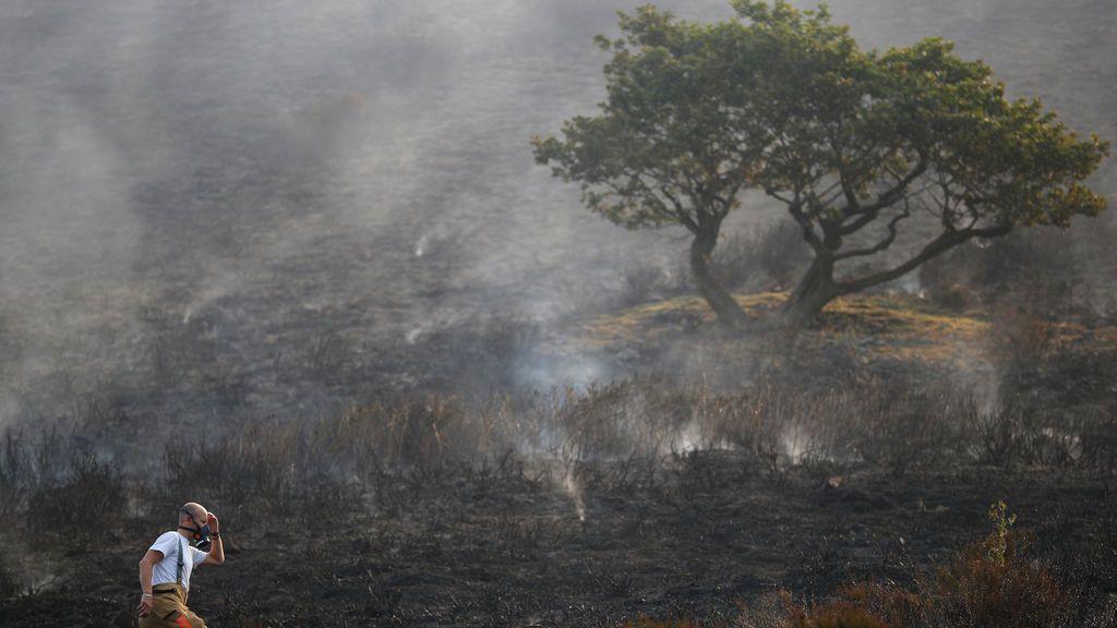 Incendio forestal en Gran Bretaña