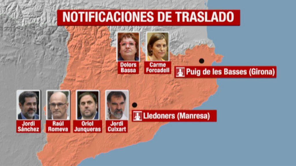 Junqueras, Romeva, Sànchez, Cuixart, Forcadell y Bassa, en la prisión de Valdemoro antes de su traslado a Cataluña