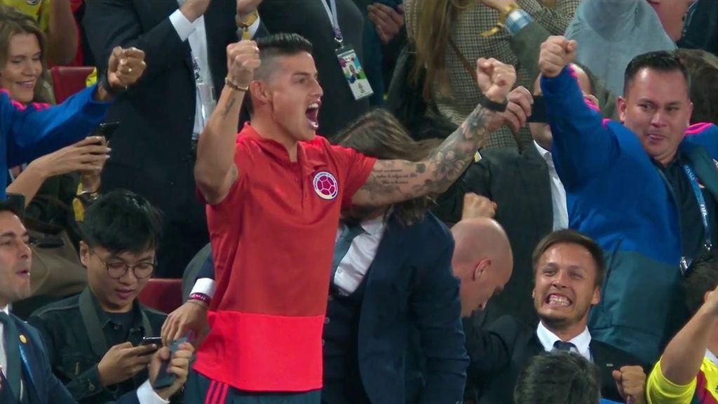 James Rodríguez, eufórico tras el gol de Yerry Mina en el descuento