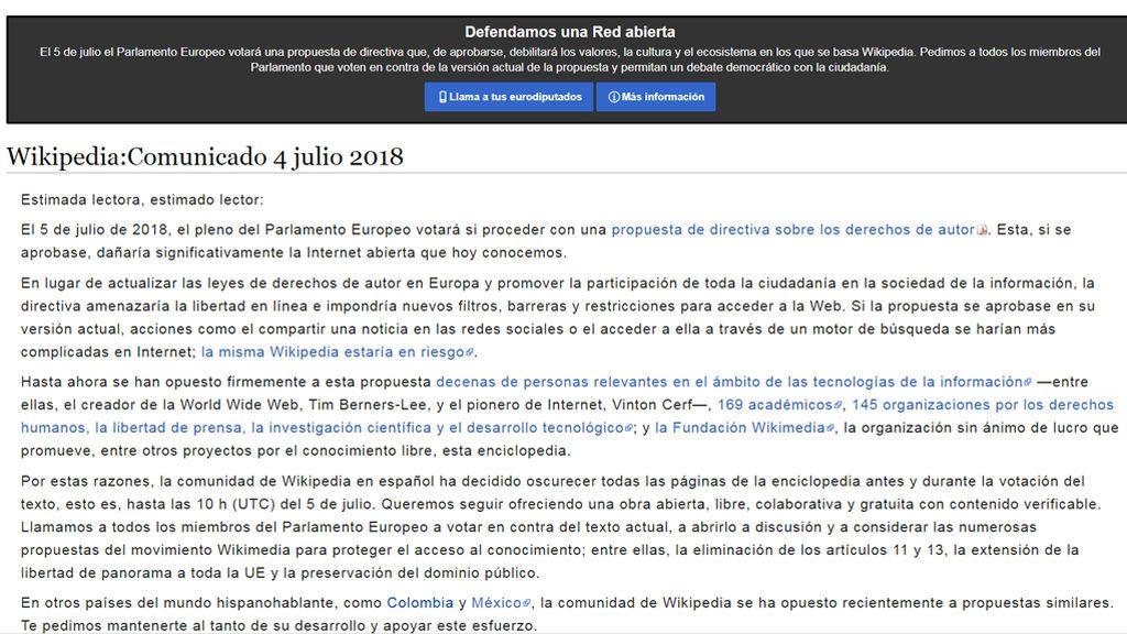 Wikipedia en español cierra dos días en protesta por la propuesta de derechos de autor de la UE