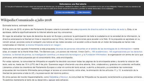 Wikipedia en español cierra dos días en protesta por la propuesta de  derechos de autor de la UE 4d5016b55e6cc