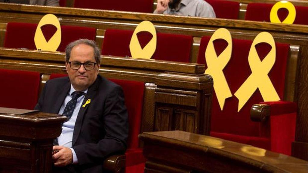 Quim Torra durante la sesión de control al Govern en el Parlament