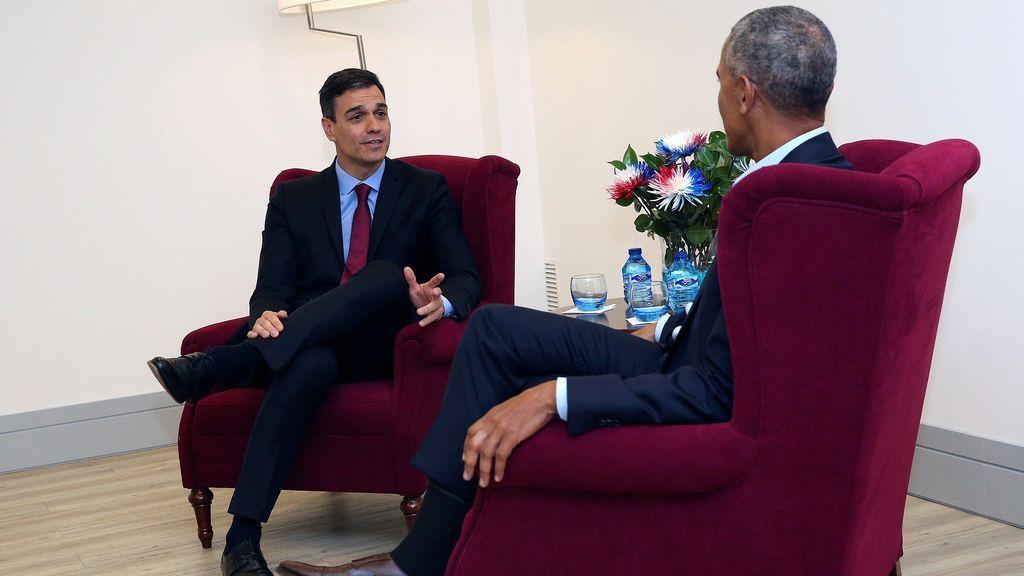 """Pedro Sánchez y Barack Obama: """"sintonía y cordialidad"""" en el encuentro en La Moncloa"""