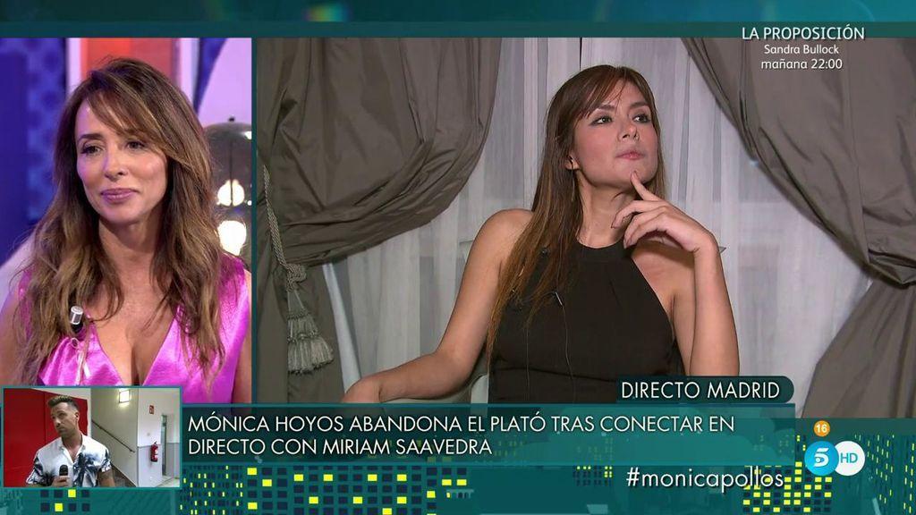 Mónica Hoyos abandona el plató y Miriam cuenta lo que ha hablado de ella con Carlos