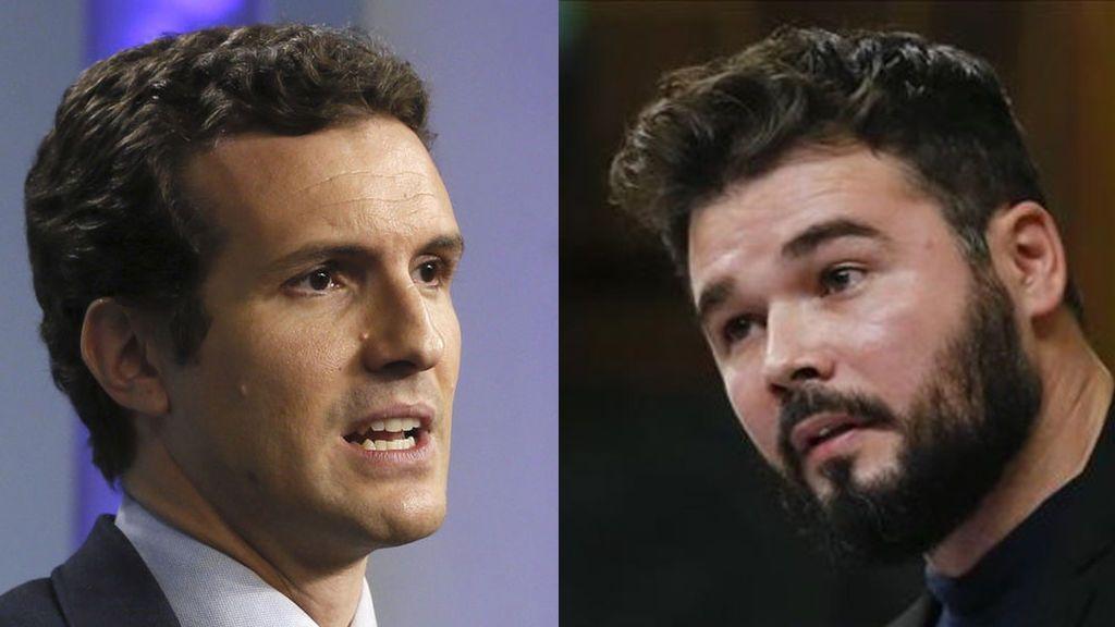 """Rufián cree que Pablo Casado es """"un buen candidato para La Falange"""""""