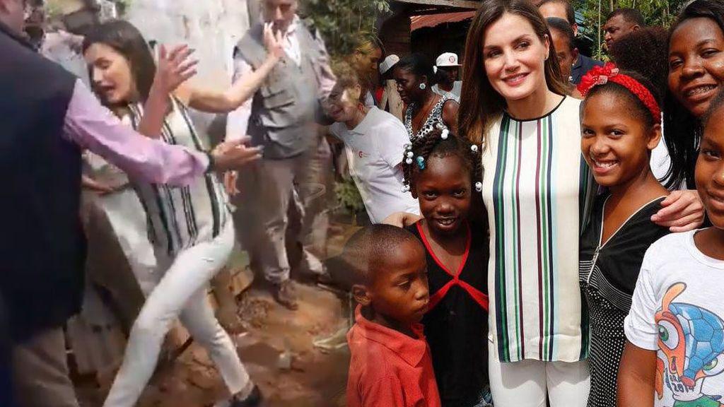 Resbalón en el barro, problemas con la prensa... El accidentado viaje de Letizia a República Dominicana