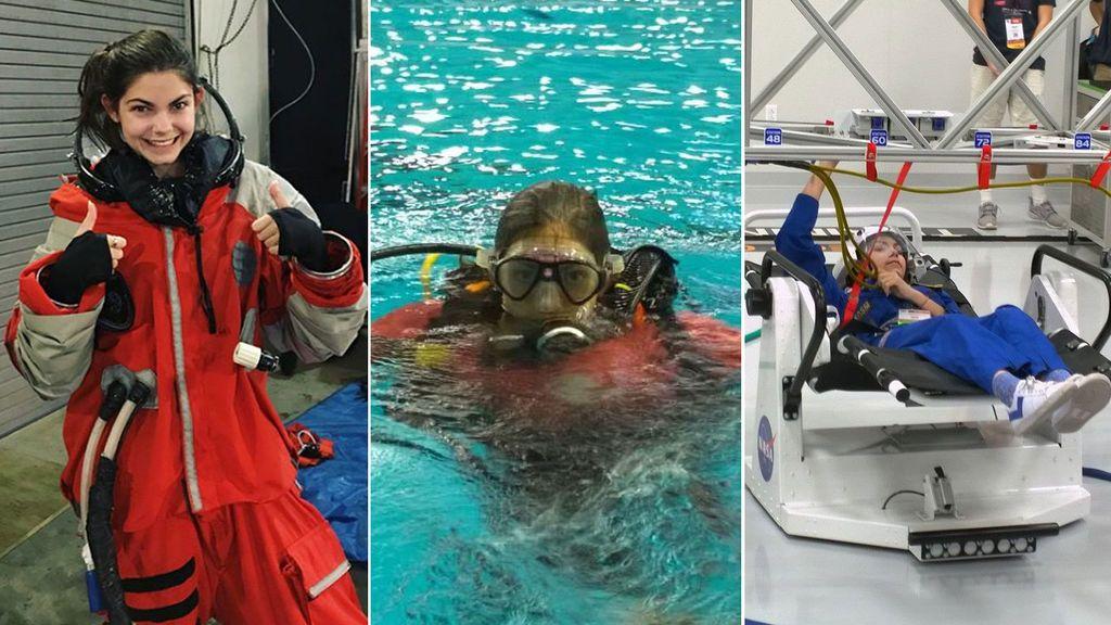 Ejercicio físico, cámara hiperbárica y submarinismo: el entrenamiento de la joven de 17 años que sueña con pisar Marte