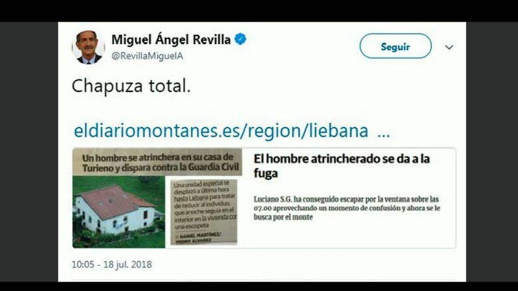 """Miguel Ángel Revilla, sobre su tuit sobre la """"chapuza total"""" de la Guardia Civil en Turieno: """"He cometido un error gravísimo"""""""
