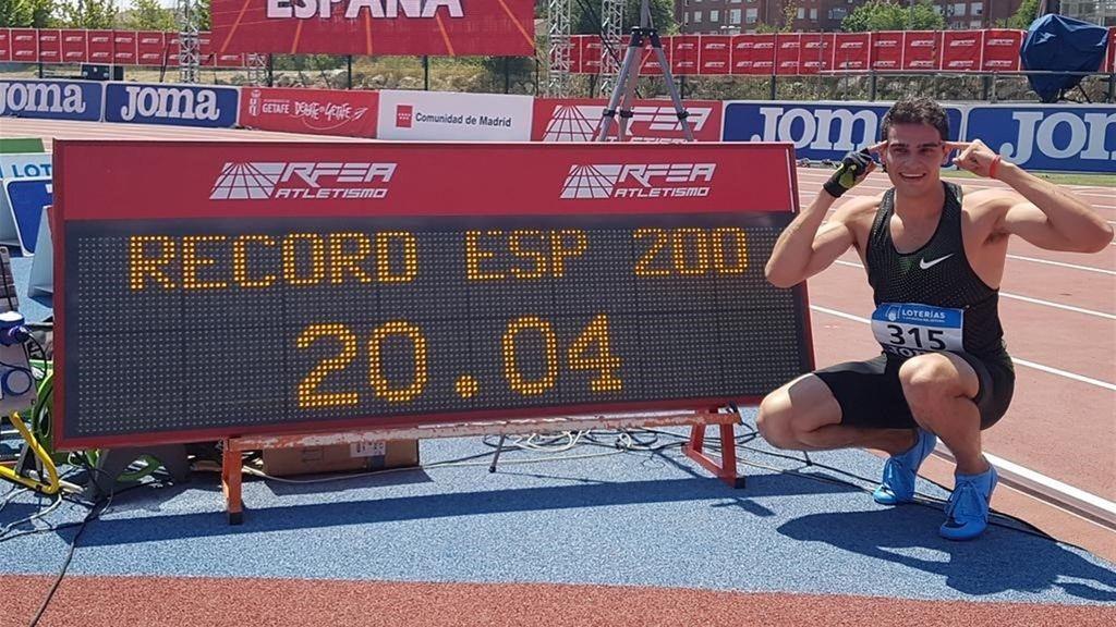 Hortelano bate el récord de España en 200 metros