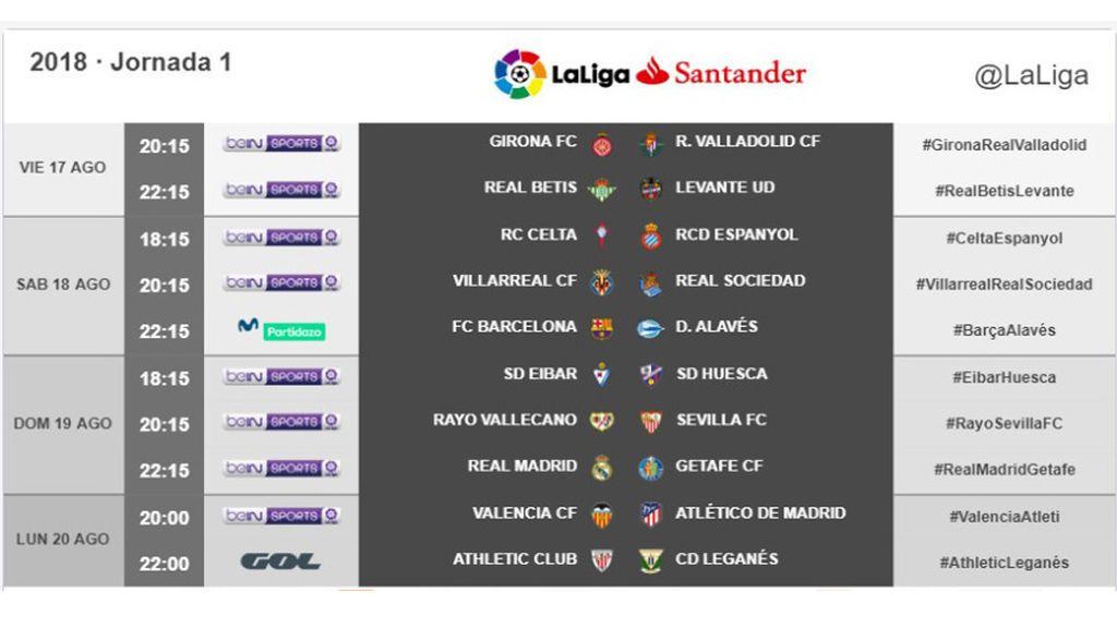 Ya hay horarios para la primera jornada de Liga: Real Madrid y Barça jugarán a las 22.15 horas