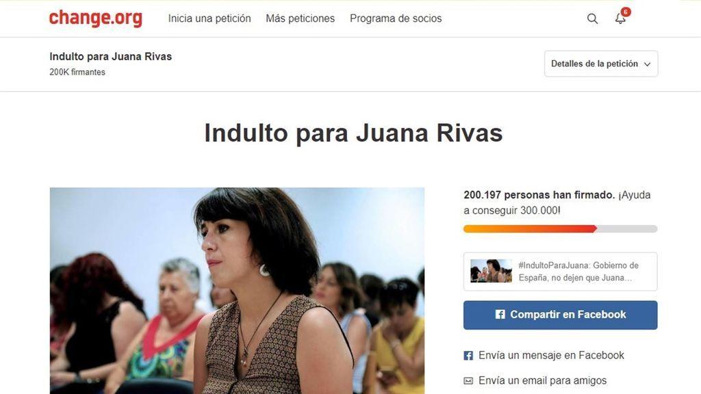 La petición para que se indulte a Juana Rivas supera las 200.000 firmas en dos días