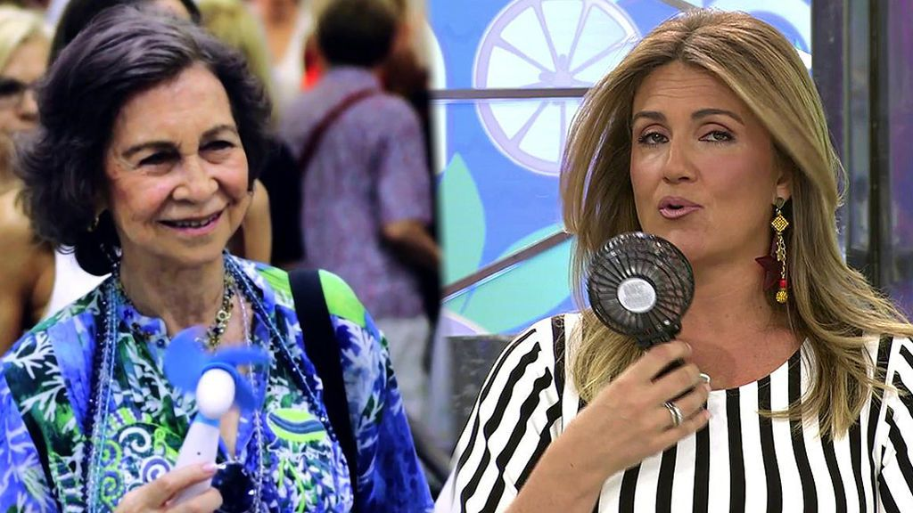 "Carlota Corredera se da aire con un ventilador al estilo ""Reina emérita"""