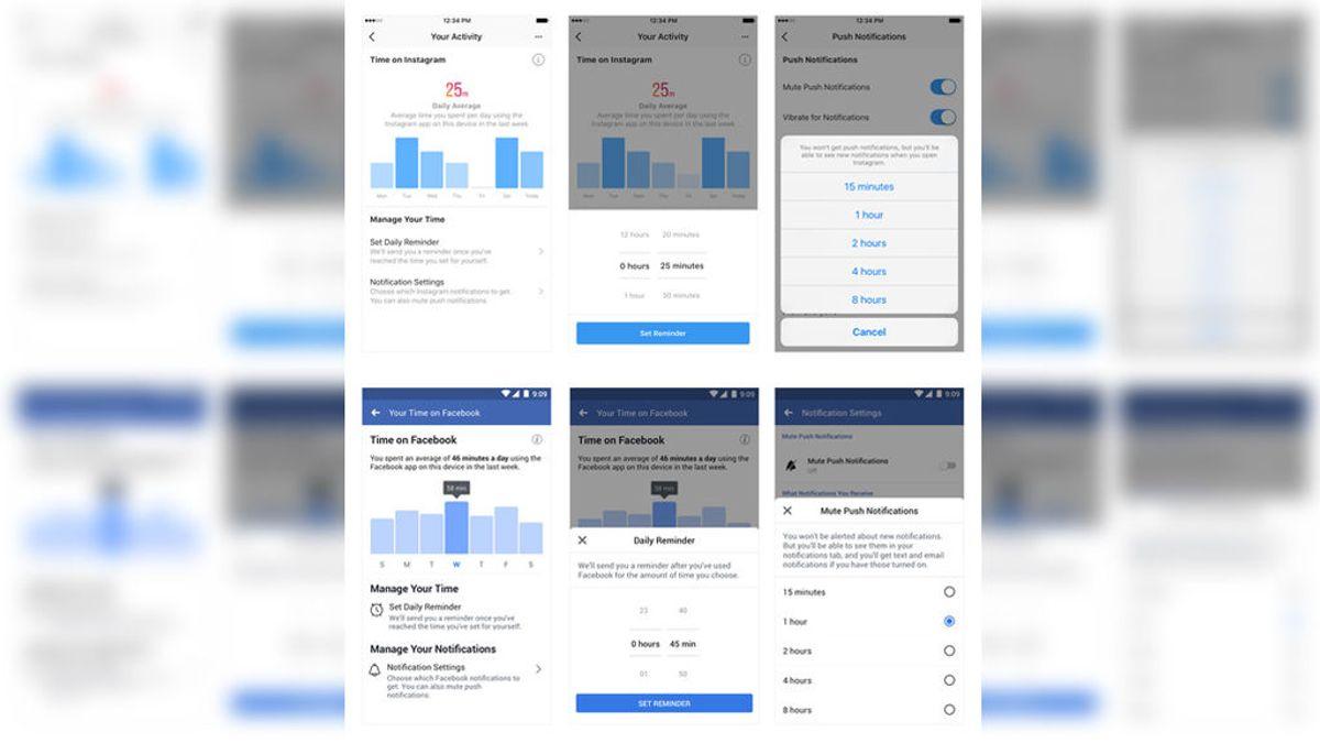 Facebook e Instagram implementarán cambios para controlar su tiempo de uso