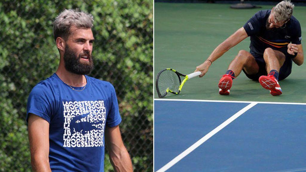 Las raquetas, el banco... nada se libra del ataque de furia de Benoit Paire