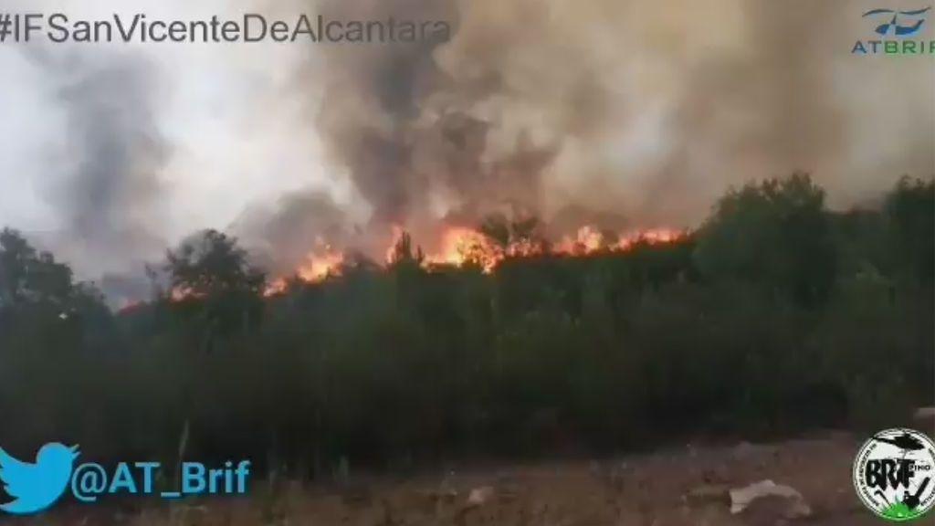 Sin control un incendio declarado en San Vicente de Alcántara (Badajoz)