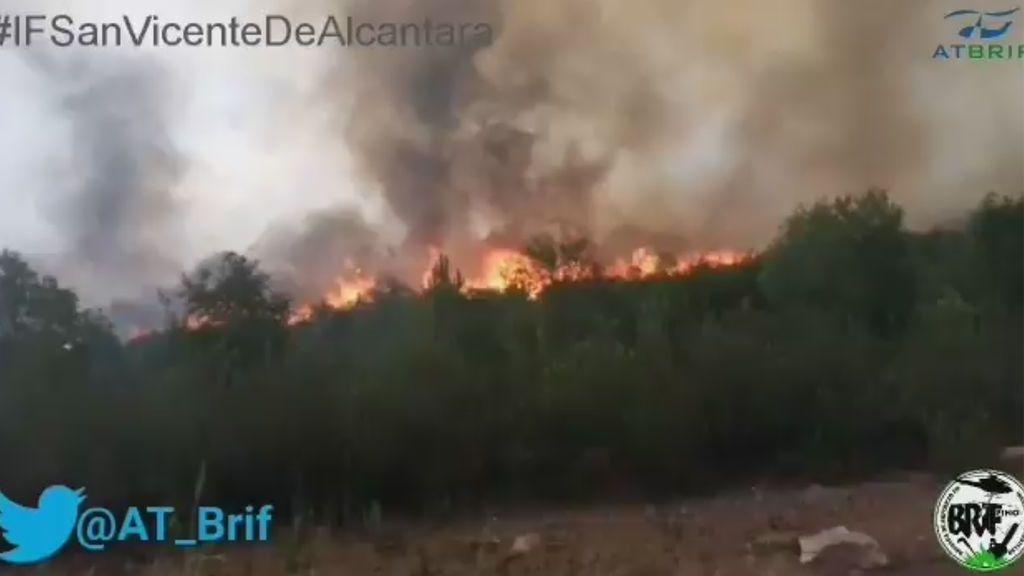 Medios terrestres trabajan para controlar el incendio declarado en San Vicente de Alcántara (Badajoz)