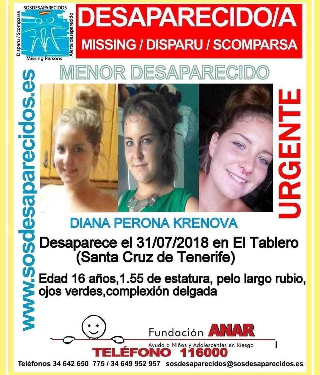 Desaparecida en Tenerifer Diana Perona Krenova, una menor de 16 años