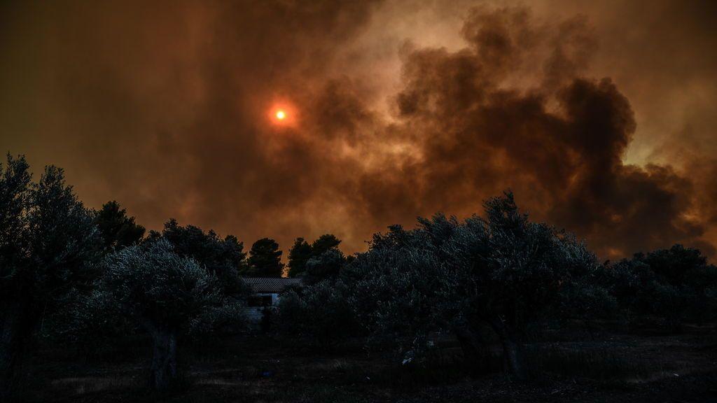 Un gran incendio forestal obliga a declarar el estado de emergencia en la isla griega de Eubea