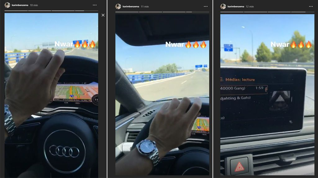 Benzema genera polémica al publicar un video mientras conduce