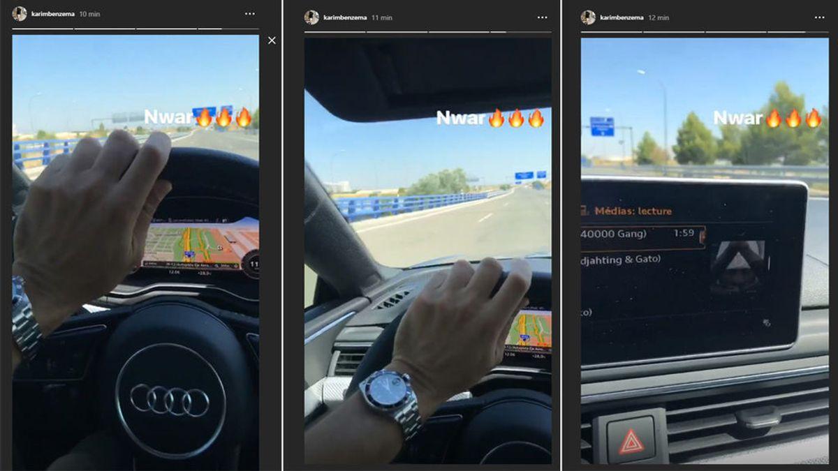 Benzema no aprende: Vuelve a grabarse conduciendo con el móvil a 120 km/h por Madrid