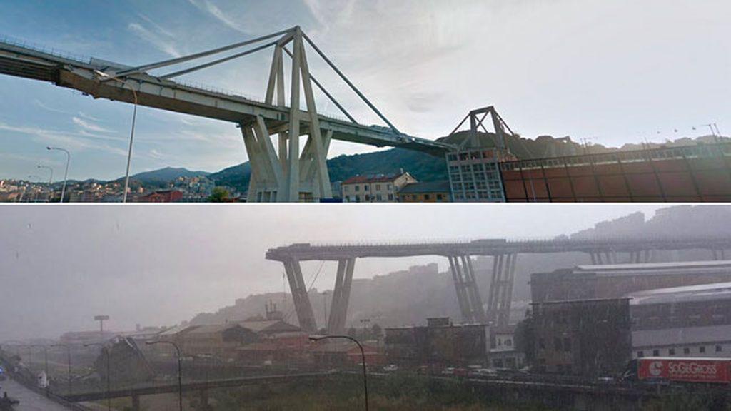 Desplome de un viaducto en Génova: Antes y después
