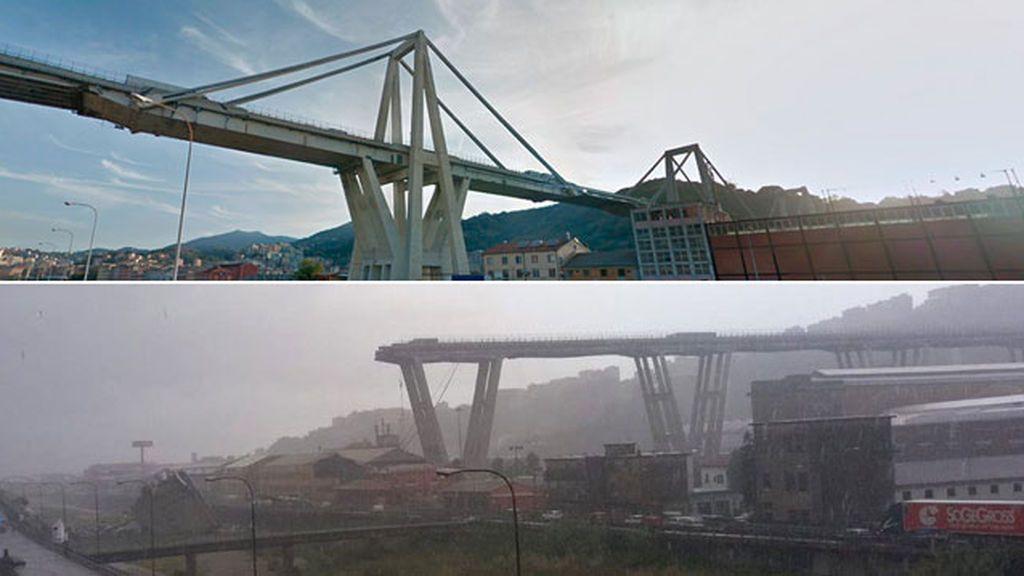 Se derrumba un viaducto en el que circulaba una autopista en Génova: Antes y después