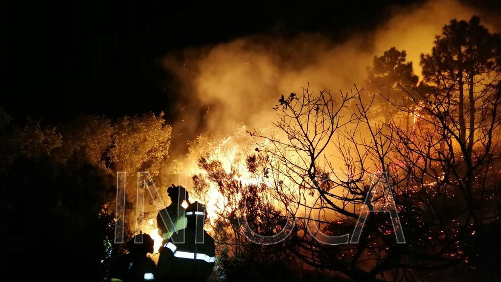 Las rachas de viento complican la extinción de un incendio declarado en Tarifa