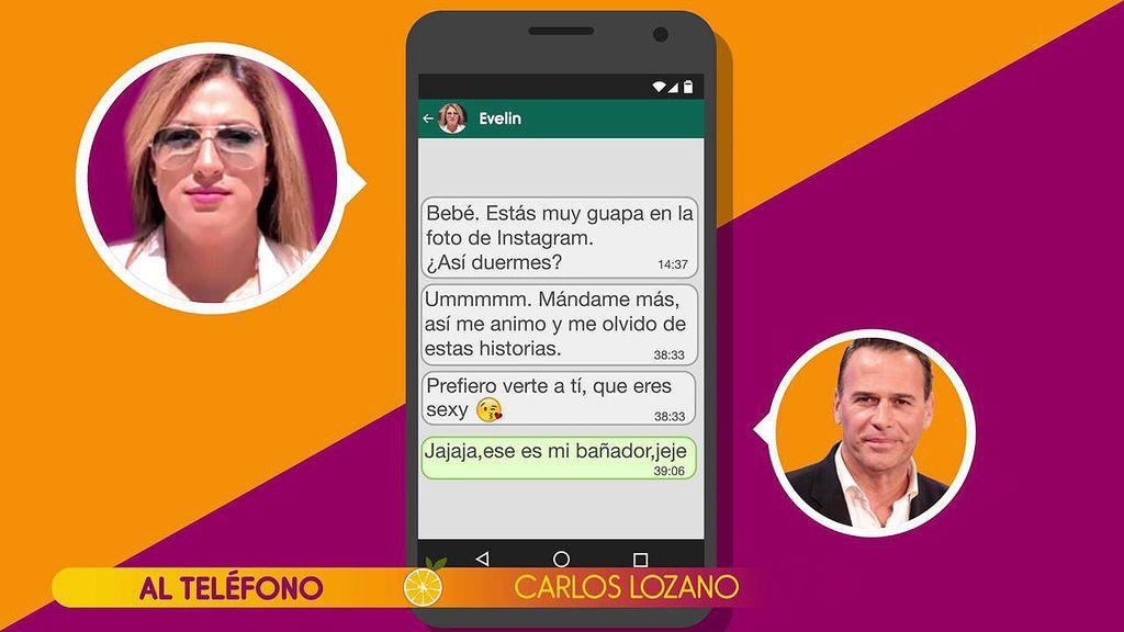"""Los mensajes subidos de tono entre Carlos Lozano y Evelyn, al descubierto: """"Ummm, mándame más fotos y así me animo"""""""