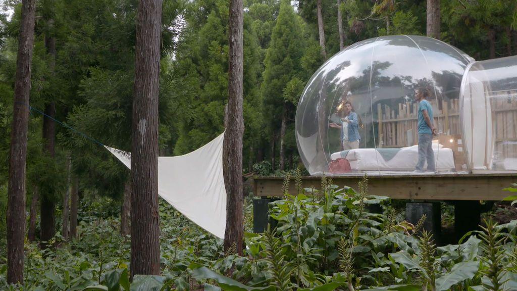 'Glamping', camping con glamour en una burbuja