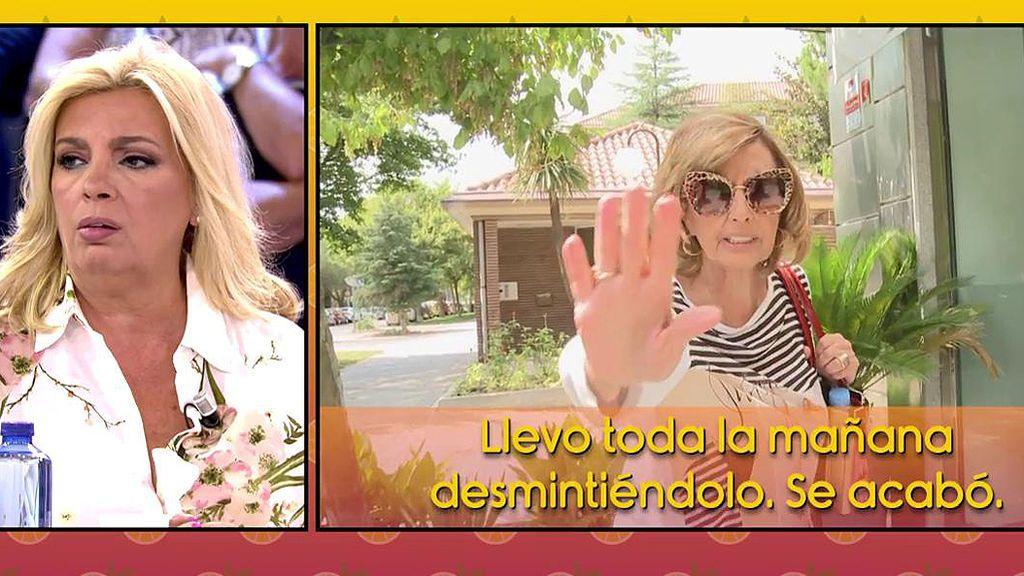 """María Teresa Campo, muy enfadada al desmentir que haya vendido ya su casa: """"Eso os lo habéis inventado"""""""