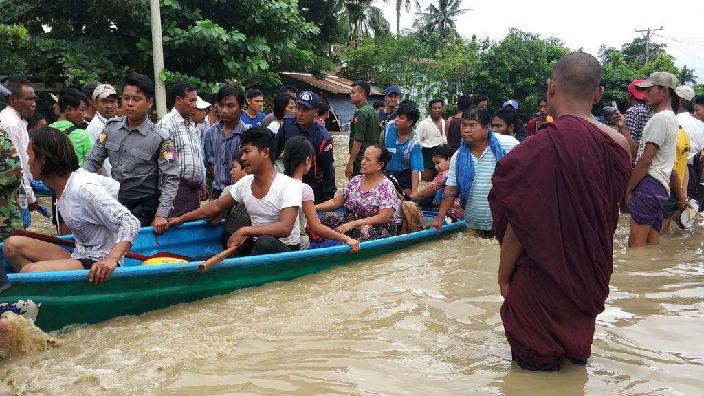 Evacuación en Birmania tras el colapso de una presa