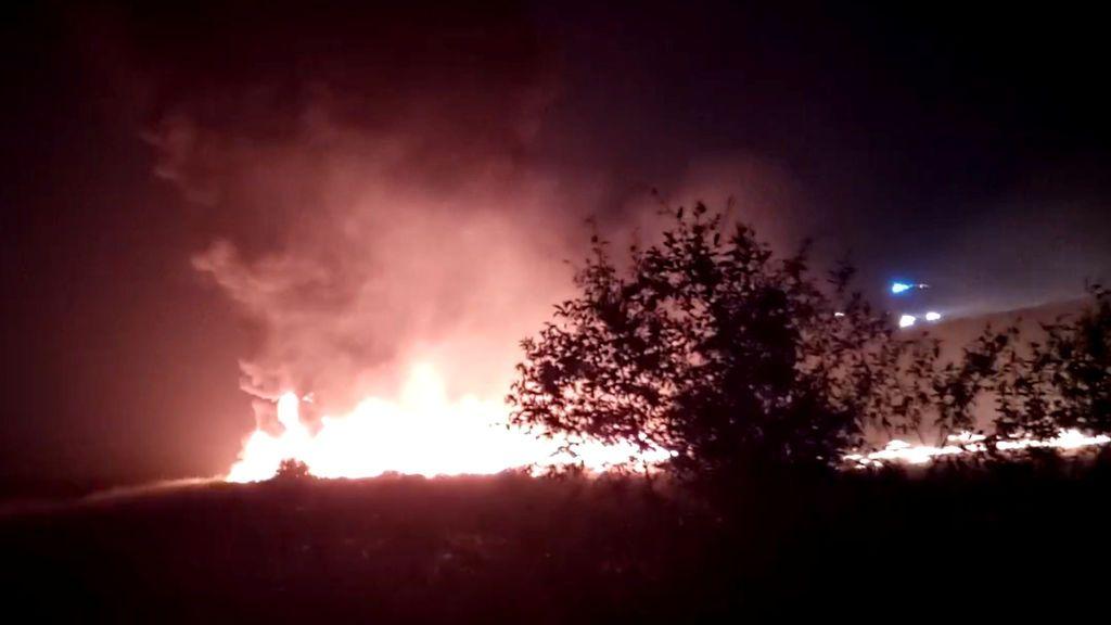 El fuego que provocó el avión