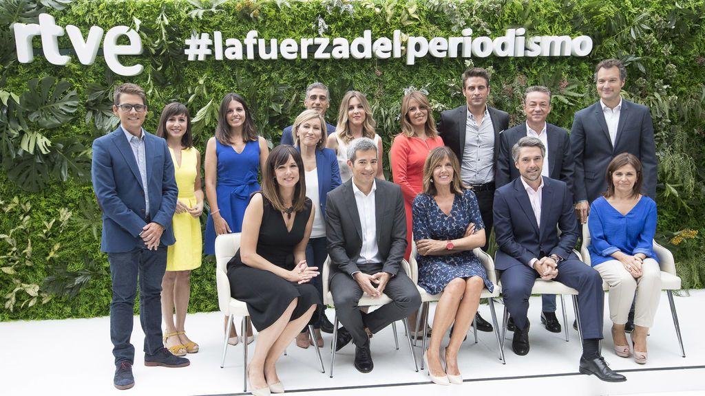 Equipo de informativos RTVE, en la presentación de la temporada 2018-2019 en Torrespaña el lunes 3 de septiembre de 2018.