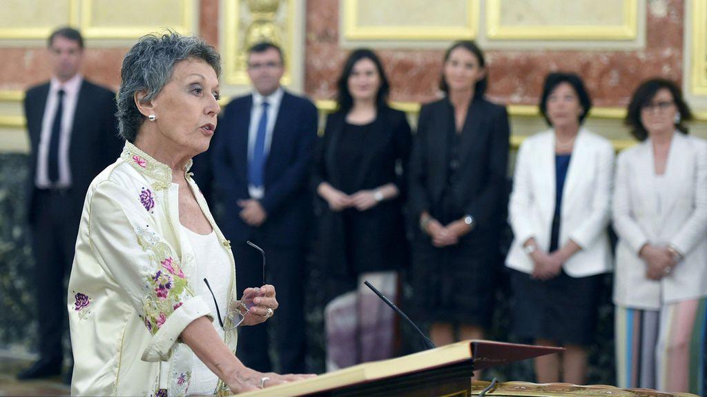 Rosa María Mateo, durante la toma de posesión del cargo de administradora única de RTVE en el Congreso de los Diputados el 30 de julio de 2018.