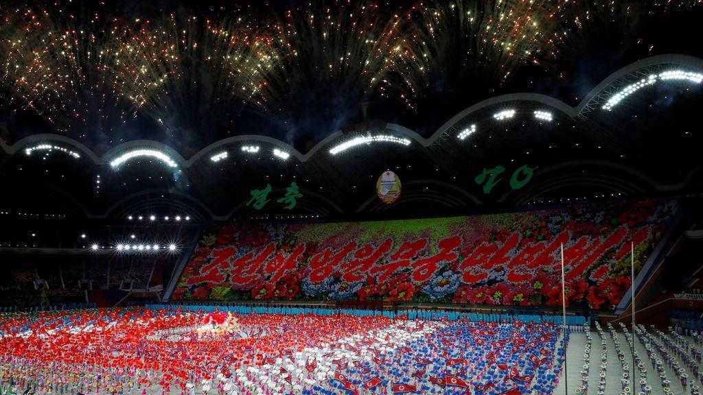 Fuegos artificiales durante los 'Juegos Mundiales' de Corea del Norte