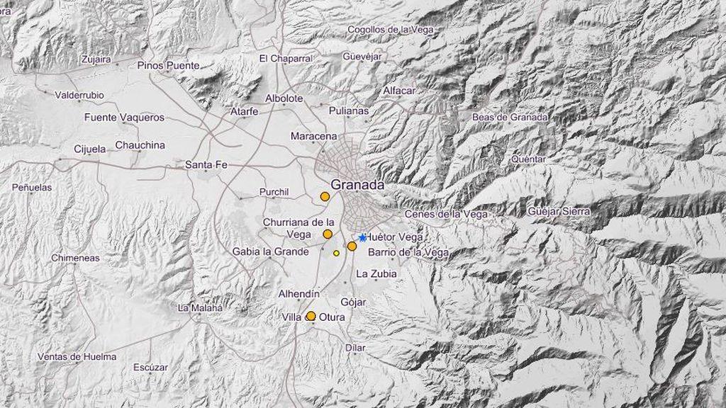 Se registran tres terremotos en menos de una hora y media  en Granada