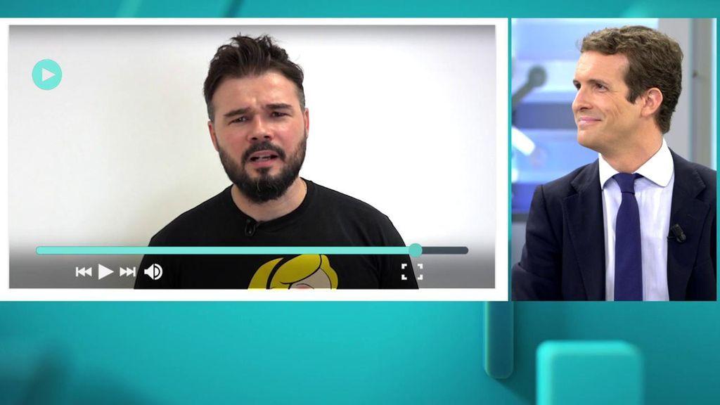 """La pregunta de Rufián a Pablo Casado: ¿Teme que le confundan con Albert Rivera?"""""""