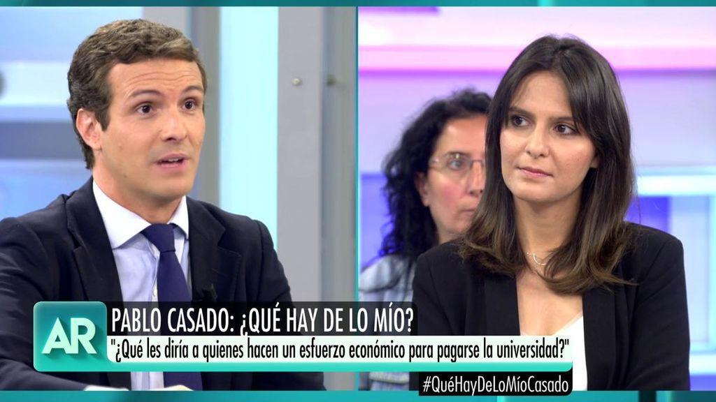 """Una estudiante pregunta a Pablo Casado: """"¿Qué les diría a los alumnos y familias que hacen esfuerzo para pagar la universidad?"""