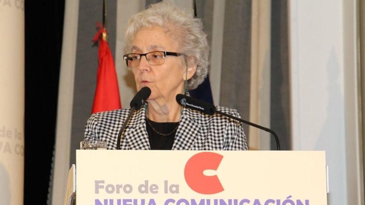Soledad Gallego-Díaz, durante su intervención en el desayuno informativo de Foro de la Nueva Comunicación, en Madrid el 10 de septiembre de 2018.
