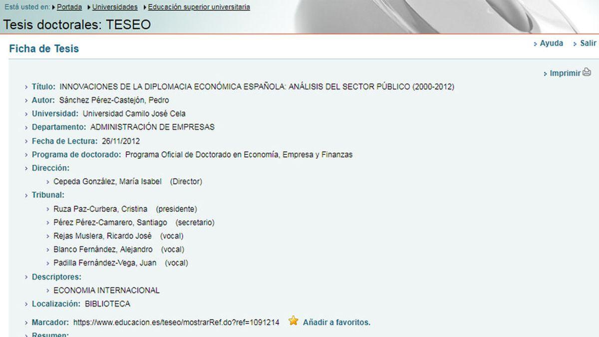 Ficha de la tesis doctoral de Pedro Sánchez