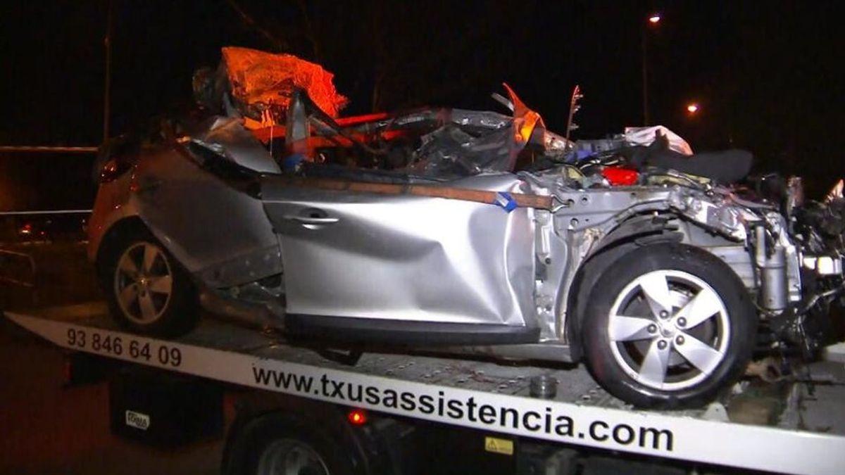 Estado en el que quedó el vehículo siniestrado en la AP-7