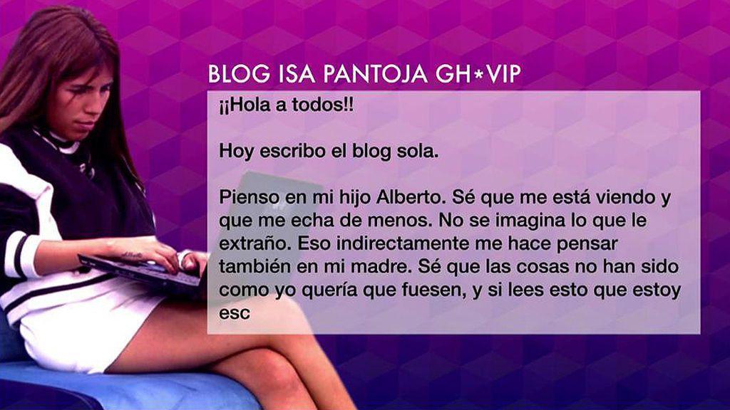 """Isa Pantoja escribe a su madre en su blog desde GH VIP: """"Me haces mucha falta"""""""