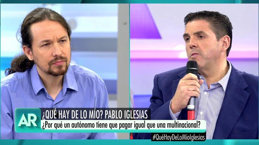 """Jeroni Ferrer pregunta a Pablo Iglesias: """"¿Por qué un autónomo tiene que pagar igual que una multinacional?"""""""